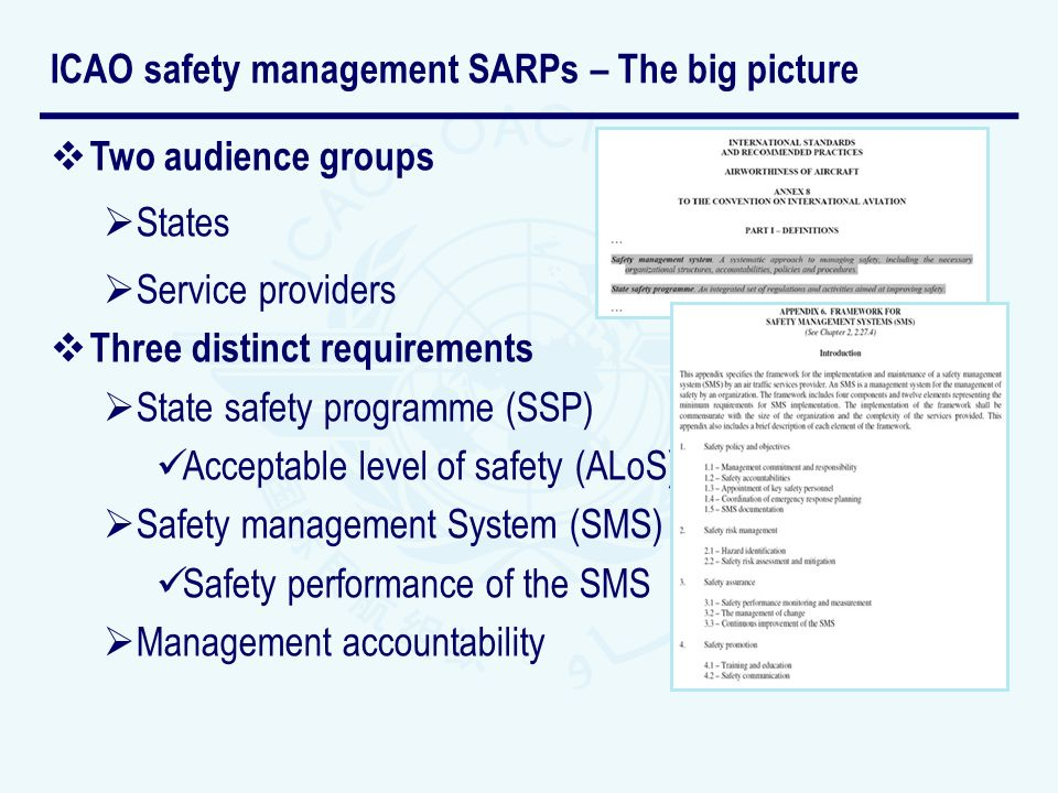 ICAO safety management SARPs – The big picture