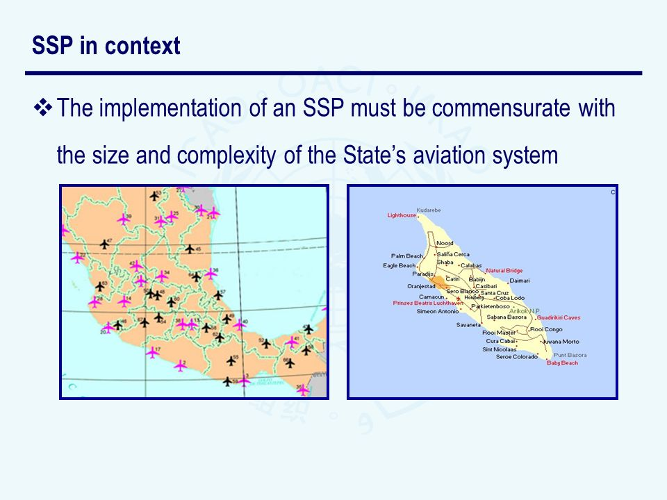 SSP in context The implementation of an SSP must be commensurate with the size and complexity of the State's aviation system.