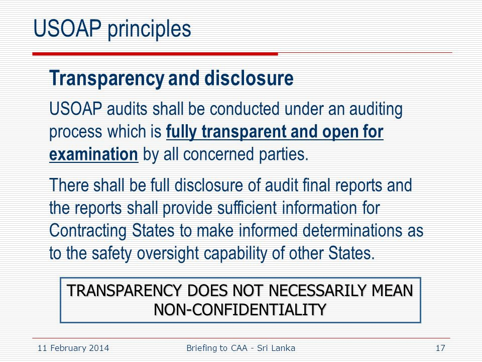 USOAP principles Transparency and disclosure