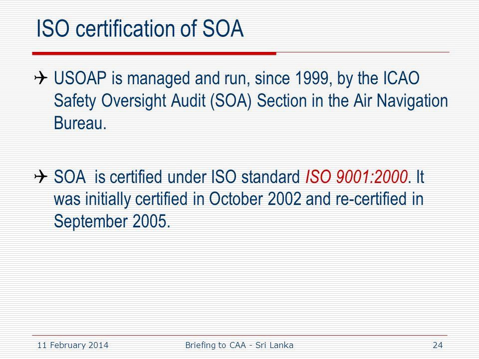 ISO certification of SOA