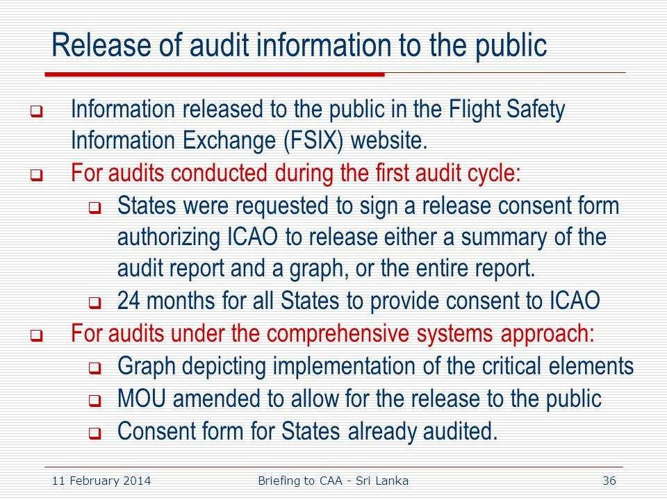 Release of audit information to the public