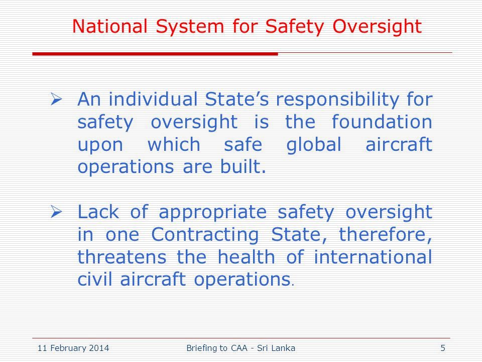 National System for Safety Oversight