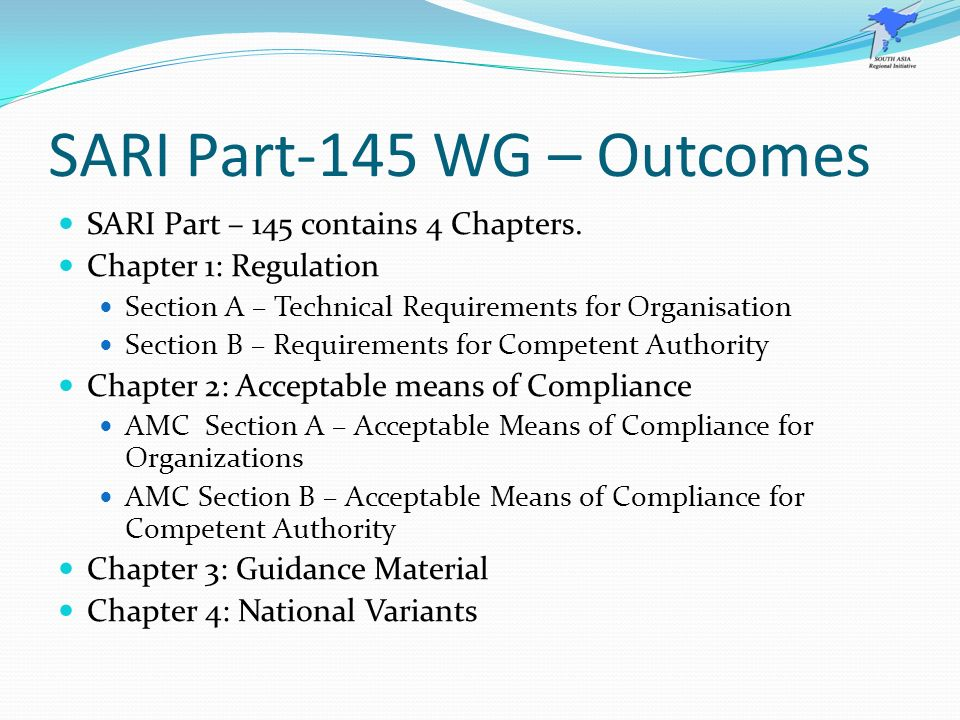 SARI Part-145 WG – Outcomes