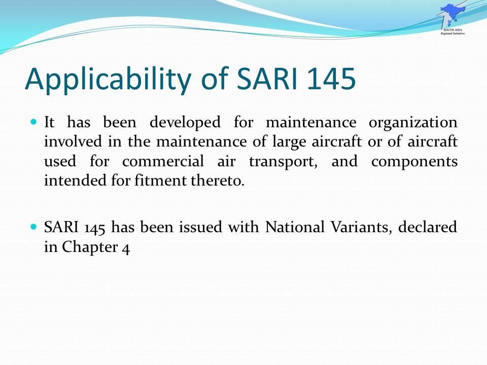 Applicability of SARI 145