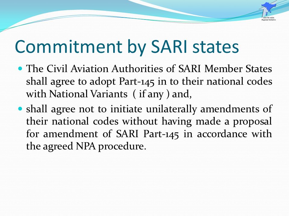 Commitment by SARI states