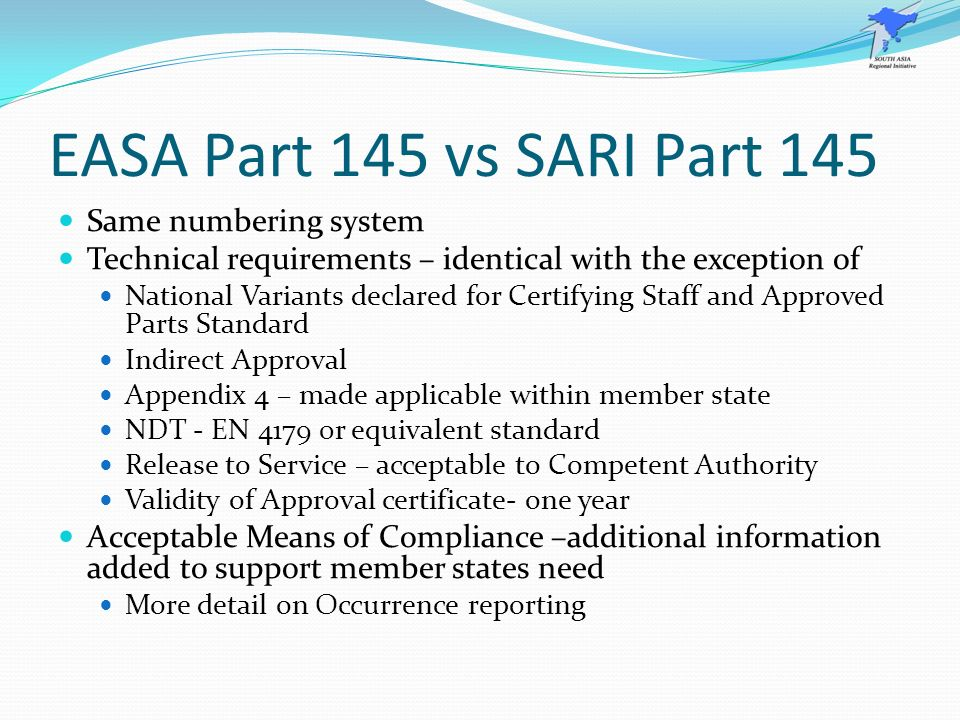 EASA Part 145 vs SARI Part 145 Same numbering system