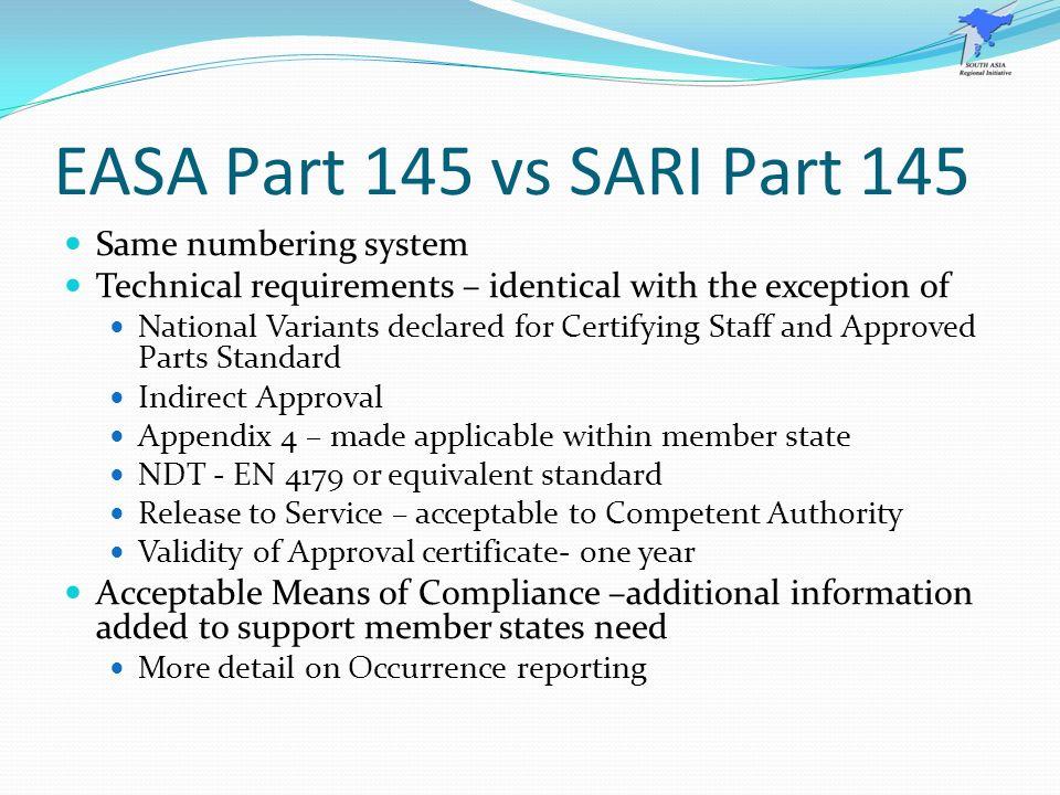 EASA Part 145 vs SARI Part 145 Same numbering system