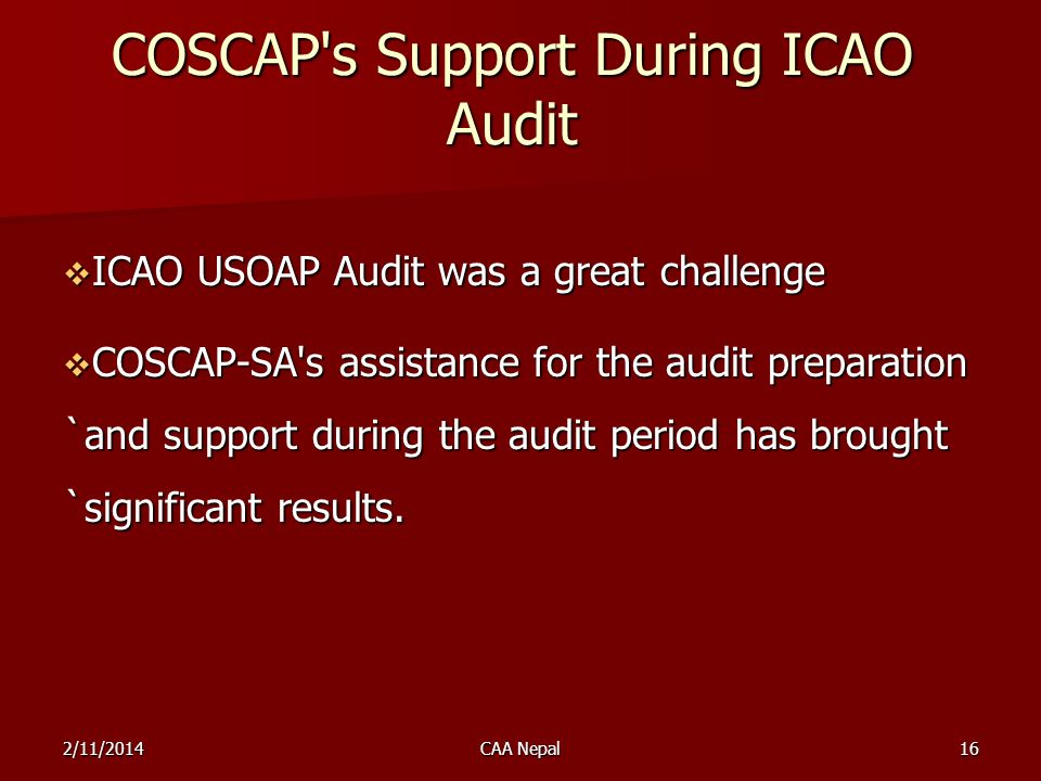 COSCAP s Support During ICAO Audit