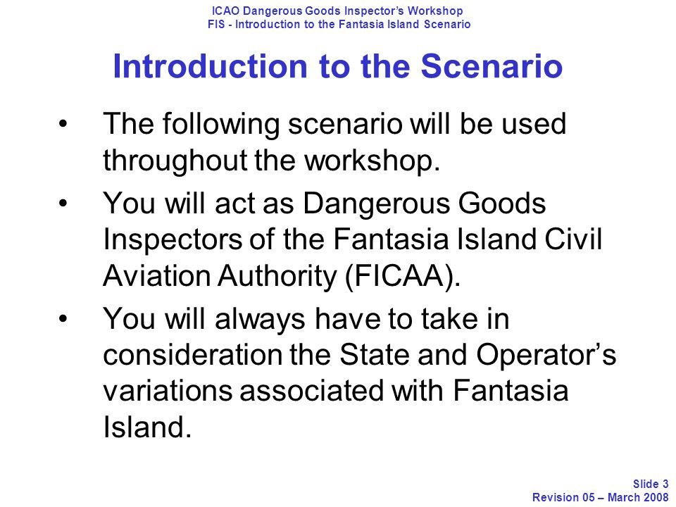 Introduction to the Scenario