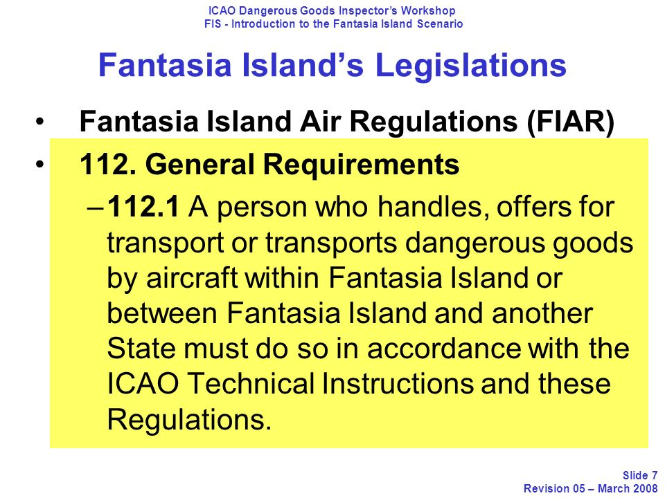 Fantasia Island's Legislations
