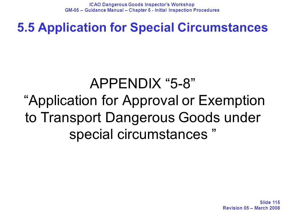 5.5 Application for Special Circumstances
