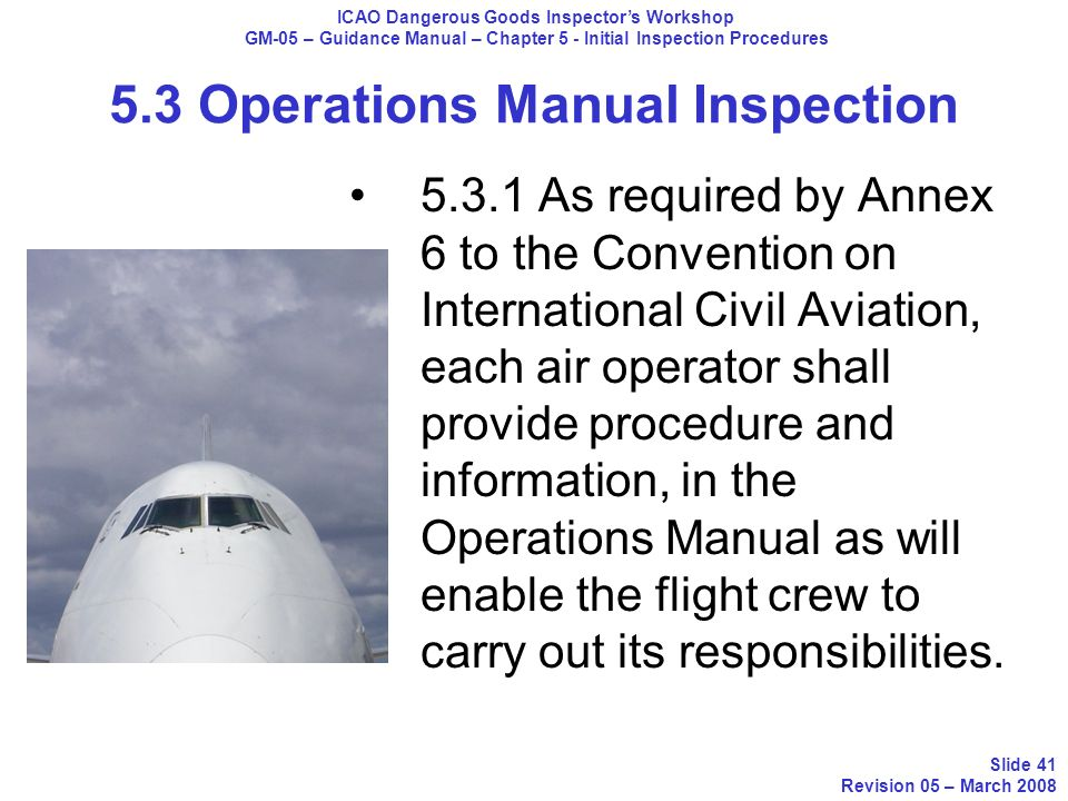 5.3 Operations Manual Inspection