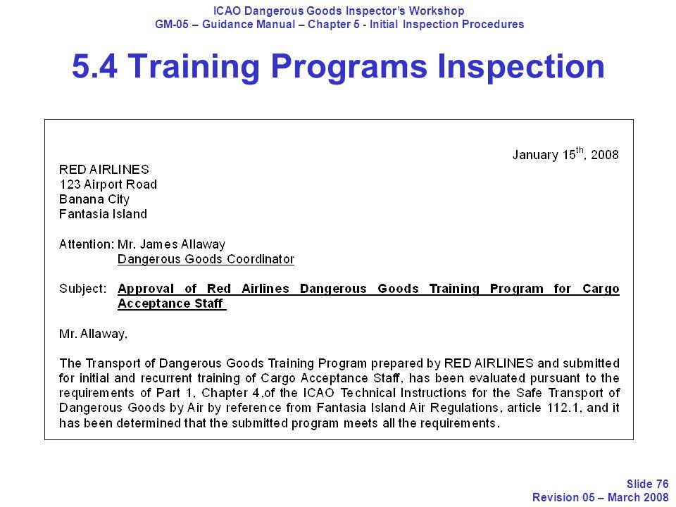 5.4 Training Programs Inspection