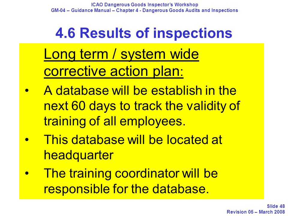 4.6 Results of inspections