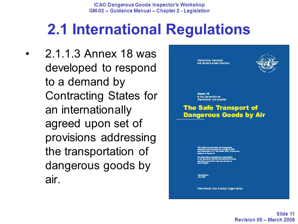 2.1 International Regulations