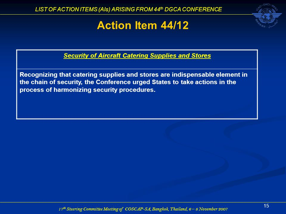 Security of Aircraft Catering Supplies and Stores