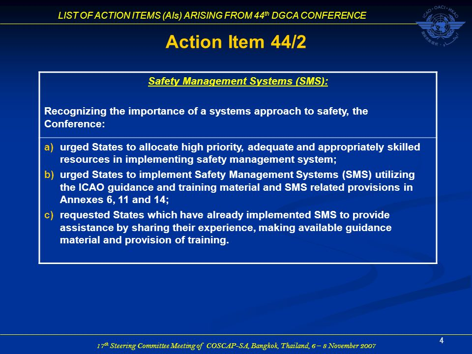 Safety Management Systems (SMS):