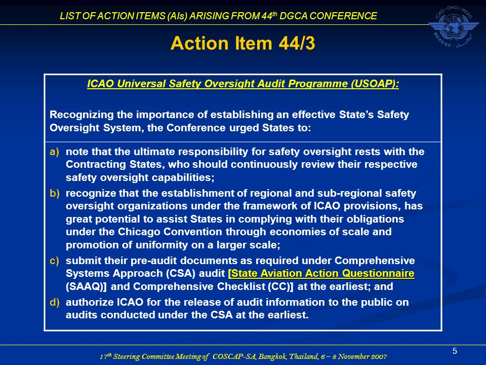 ICAO Universal Safety Oversight Audit Programme (USOAP):