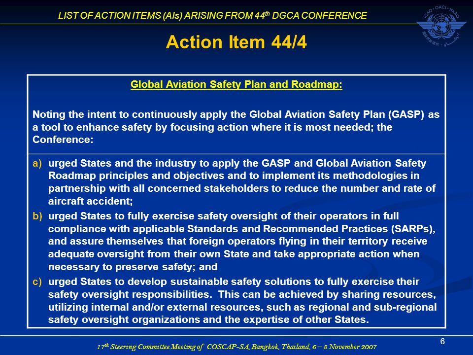 Global Aviation Safety Plan and Roadmap: