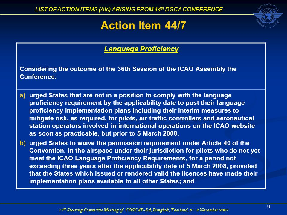Action Item 44/7 Language Proficiency