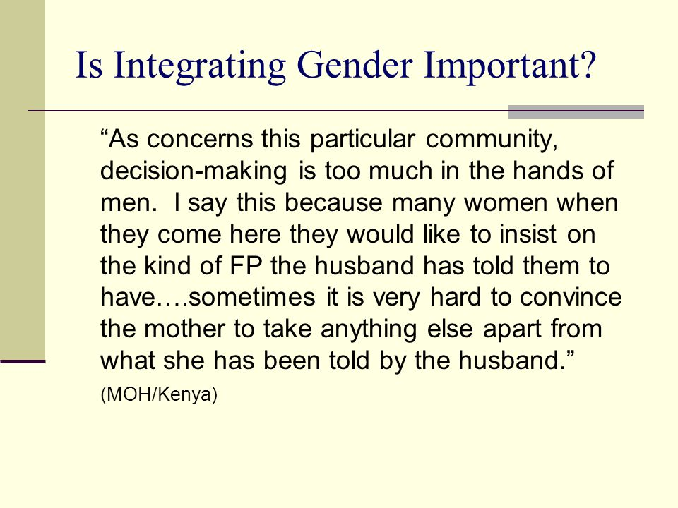 Is Integrating Gender Important