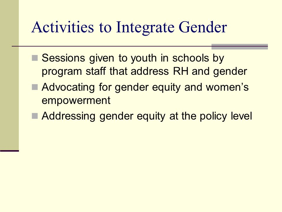 Activities to Integrate Gender