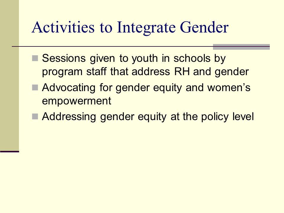 Activities to Integrate Gender