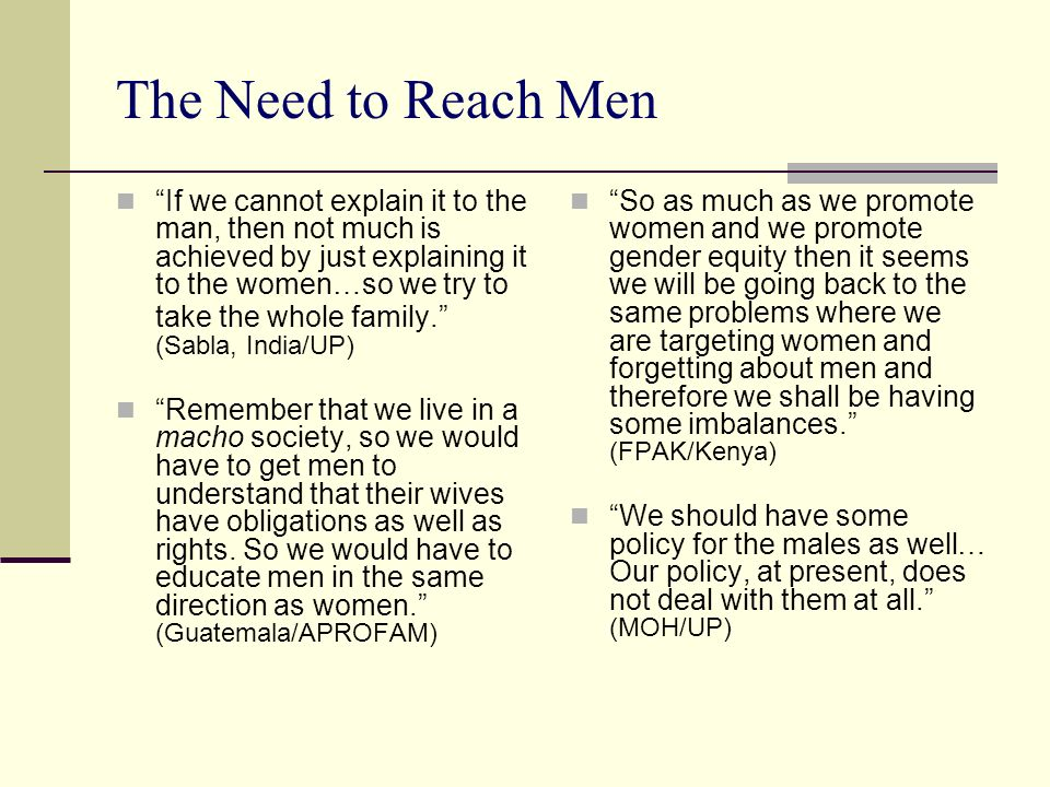 The Need to Reach Men
