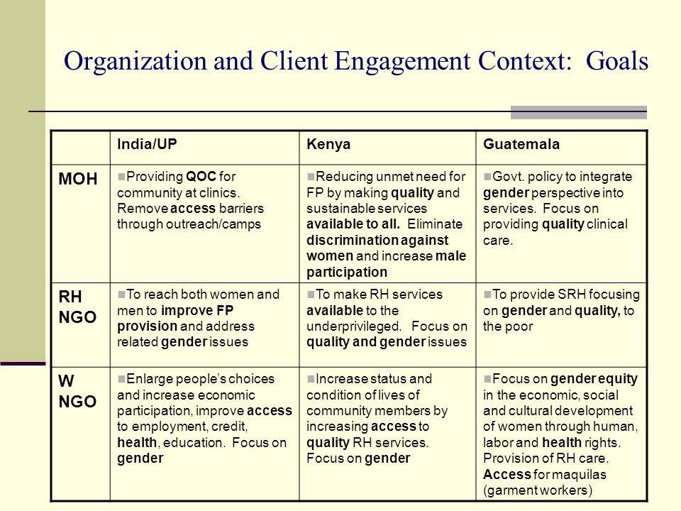Organization and Client Engagement Context: Goals
