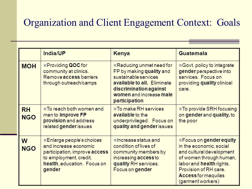 Organization and Client Engagement Context: Goals