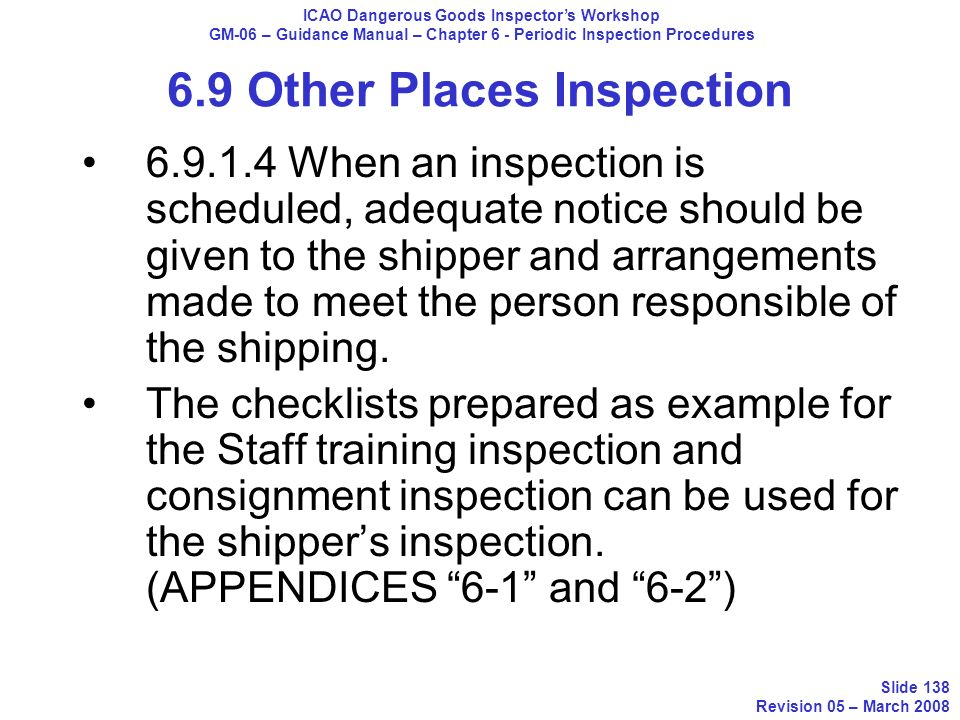 6.9 Other Places Inspection