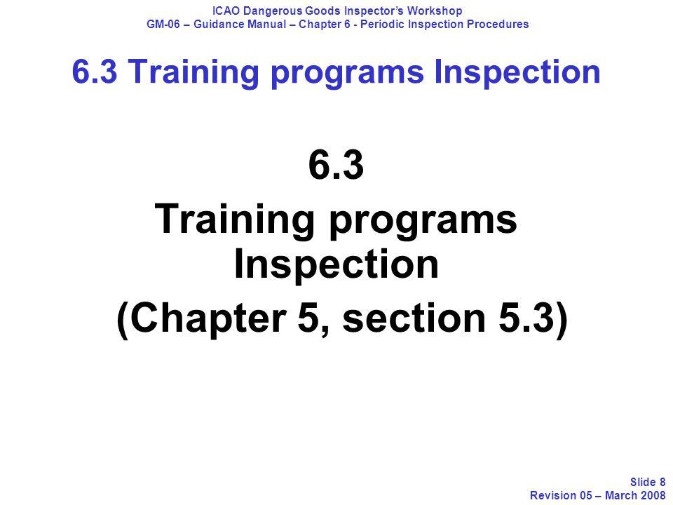 6.3 Training programs Inspection