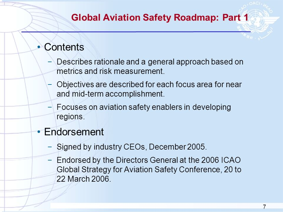 Global Aviation Safety Roadmap: Part 1