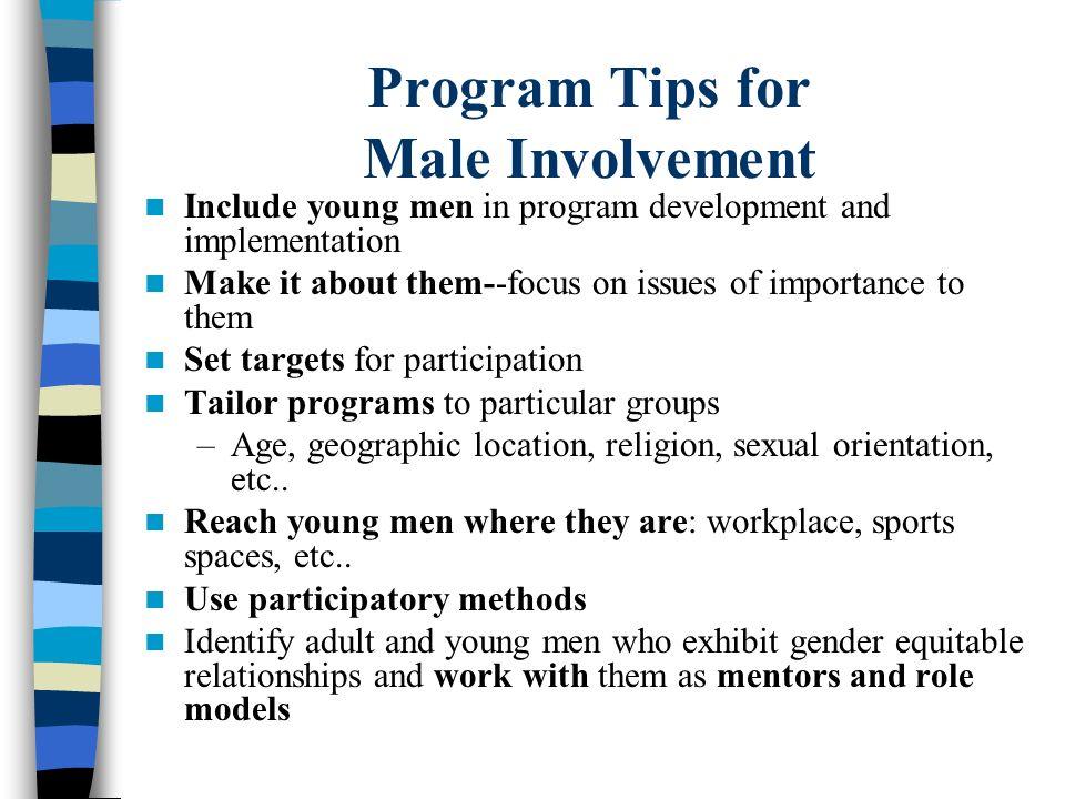 Program Tips for Male Involvement