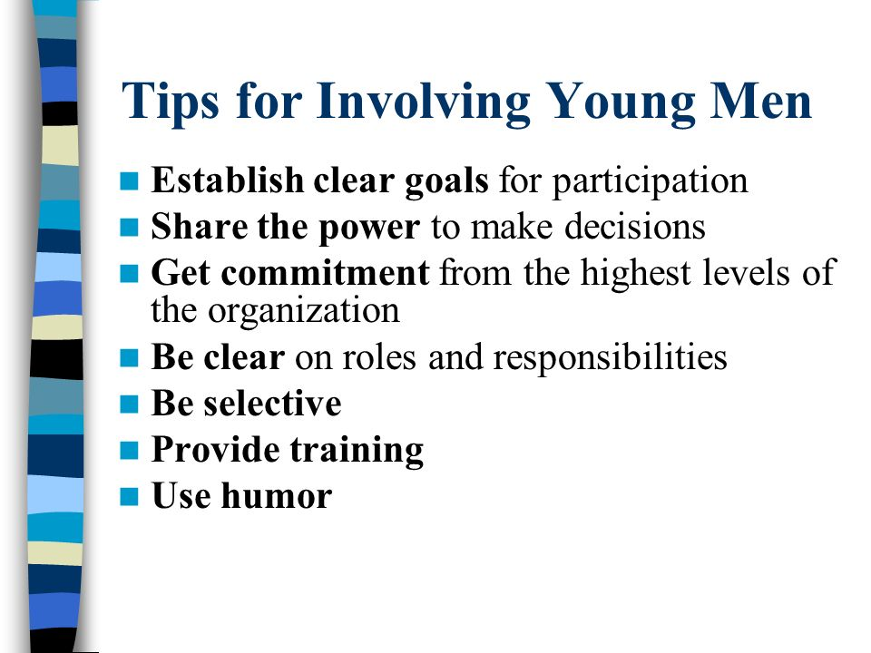 Tips for Involving Young Men
