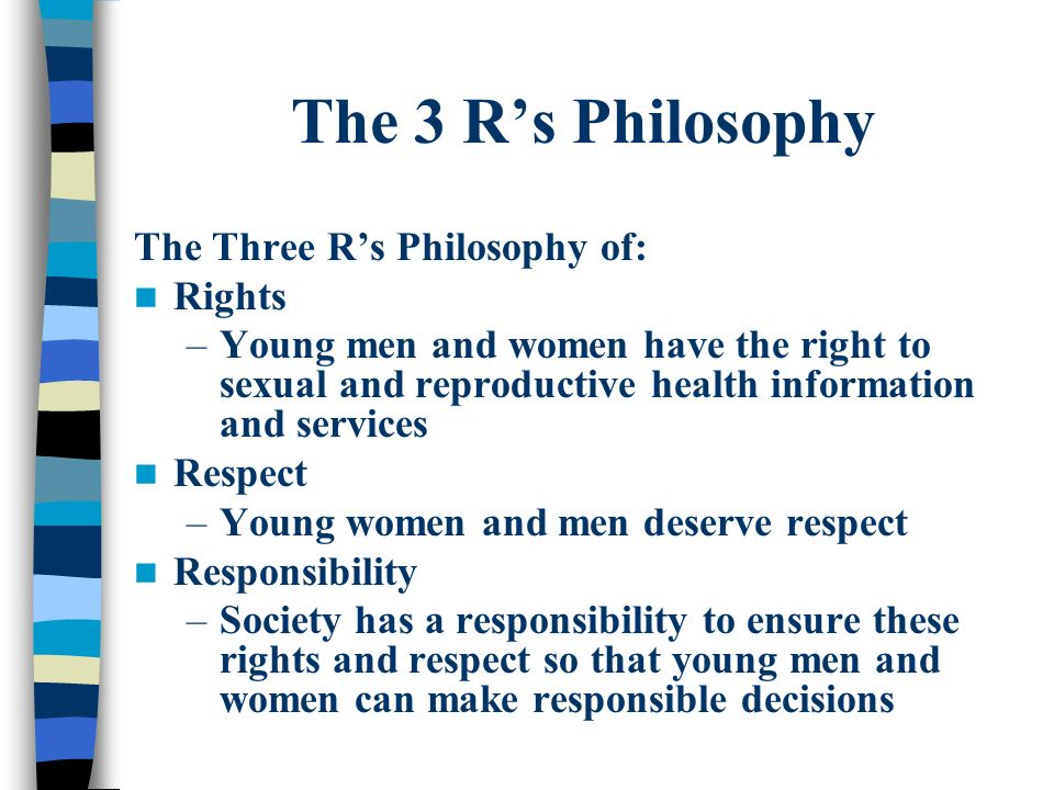 The 3 R's Philosophy The Three R's Philosophy of: Rights