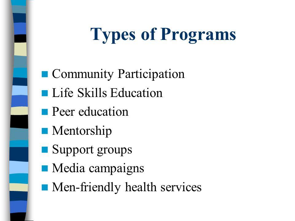 Types of Programs Community Participation Life Skills Education