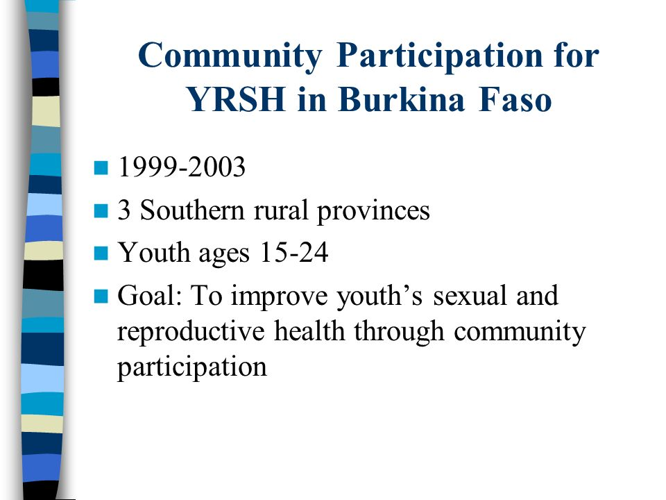 Community Participation for YRSH in Burkina Faso