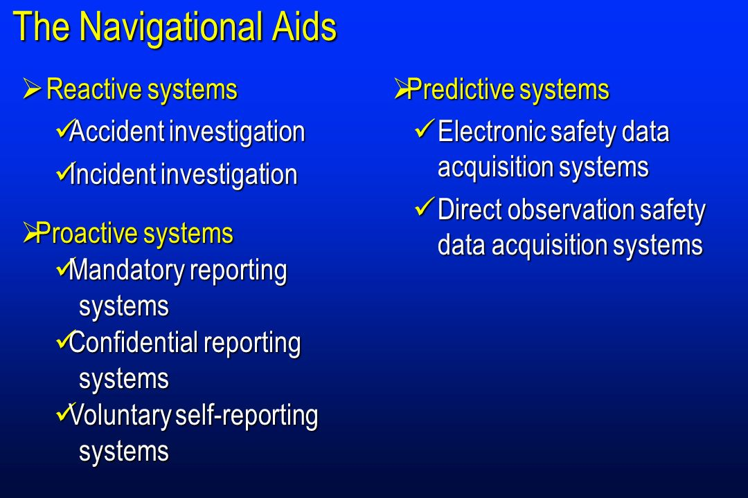 The Navigational Aids Reactive systems Accident investigation