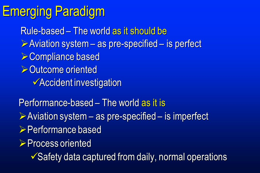 Emerging Paradigm Rule-based – The world as it should be