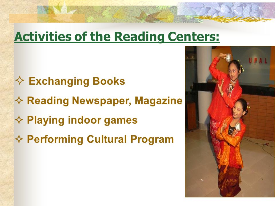 Activities of the Reading Centers:
