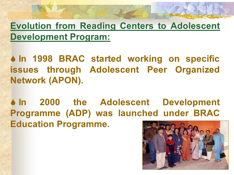 Evolution from Reading Centers to Adolescent Development Program: