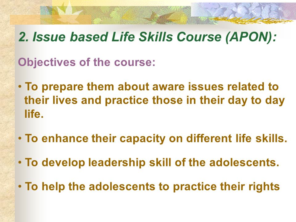 2. Issue based Life Skills Course (APON):