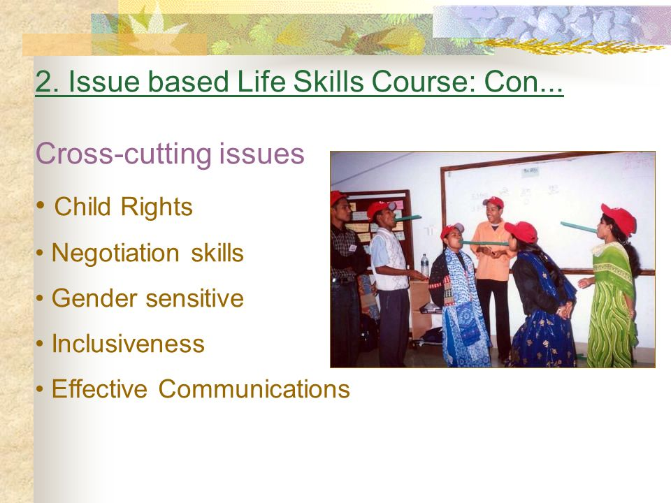 2. Issue based Life Skills Course: Con... Cross-cutting issues