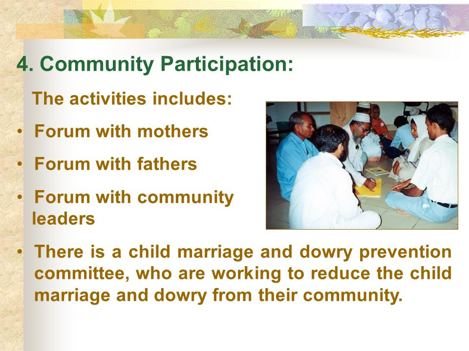 4. Community Participation: