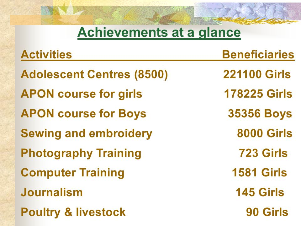 Achievements at a glance