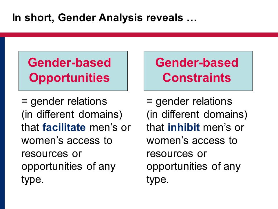 In short, Gender Analysis reveals …