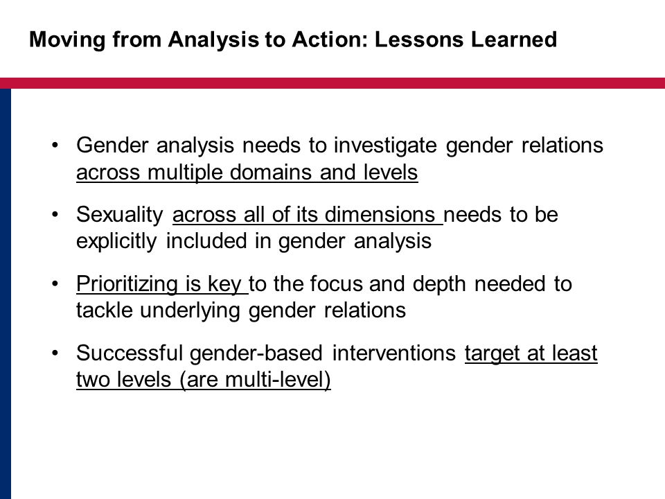 Moving from Analysis to Action: Lessons Learned