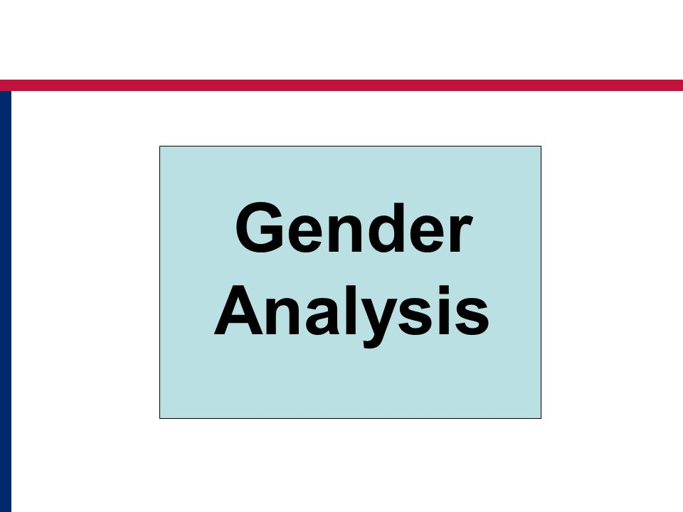 Gender Analysis