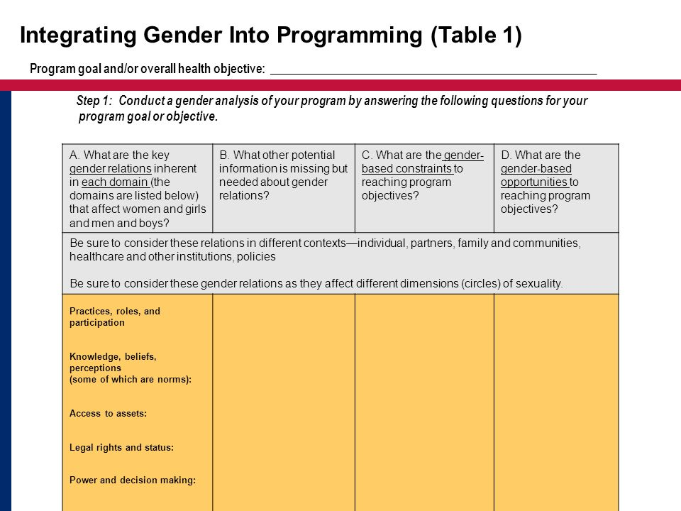 Integrating Gender Into Programming (Table 1)